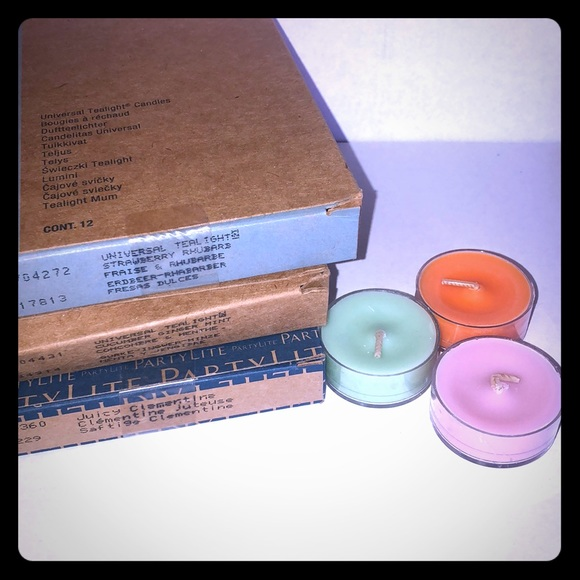 Partylite 2 BOXES STRAWBERRY RHUBARB TEALIGHTS